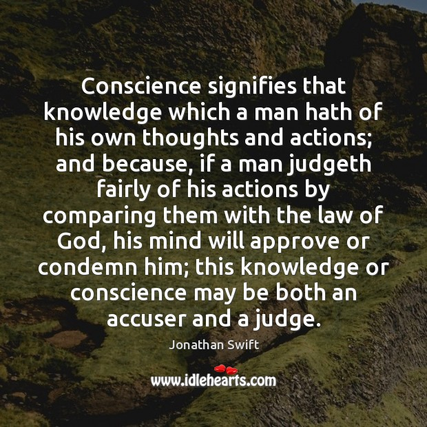 Image, Conscience signifies that knowledge which a man hath of his own thoughts