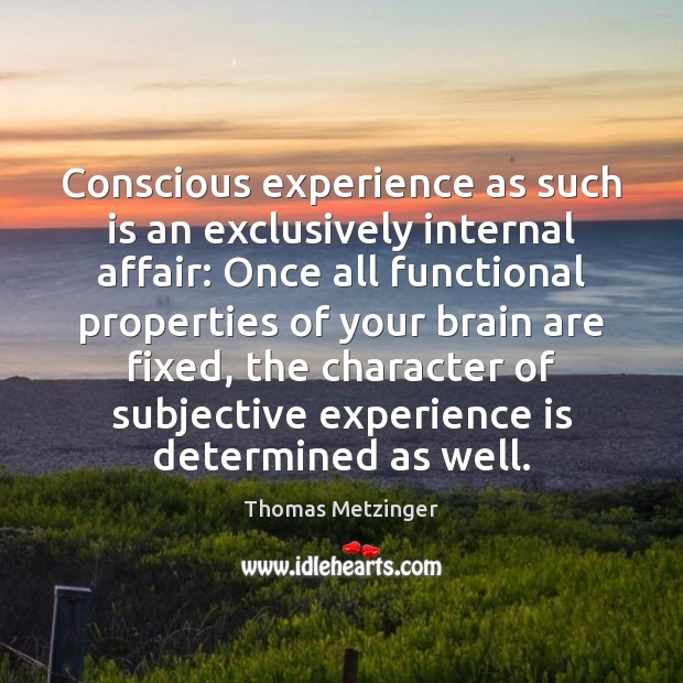 Conscious experience as such is an exclusively internal affair: Once all functional Experience Quotes Image