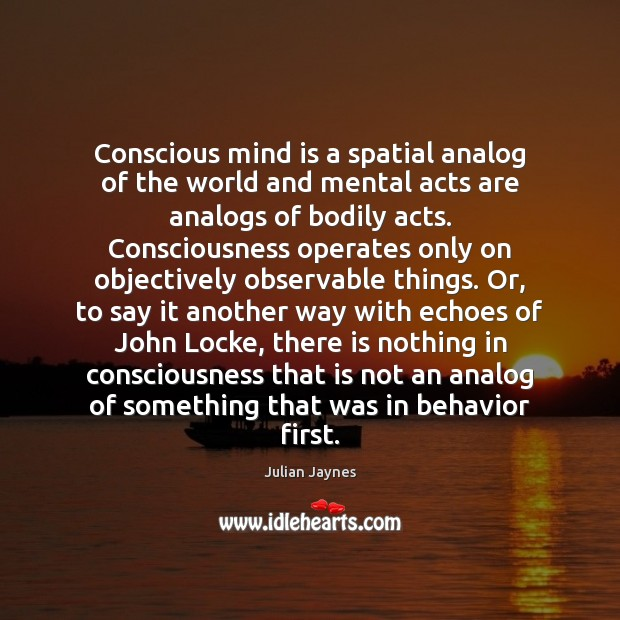 Conscious mind is a spatial analog of the world and mental acts Image