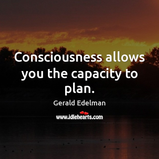 Consciousness allows you the capacity to plan. Image
