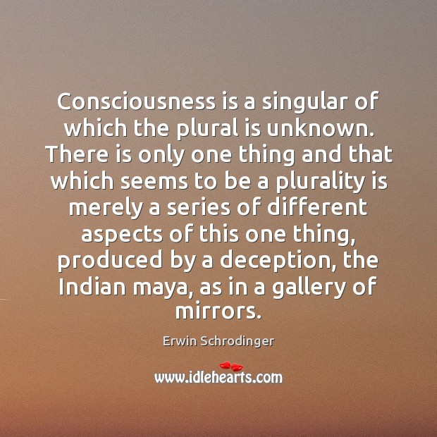 Consciousness is a singular of which the plural is unknown. There is Erwin Schrodinger Picture Quote