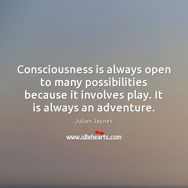 Consciousness is always open to many possibilities because it involves play. It Image