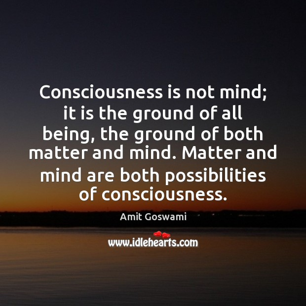Consciousness is not mind; it is the ground of all being, the Image