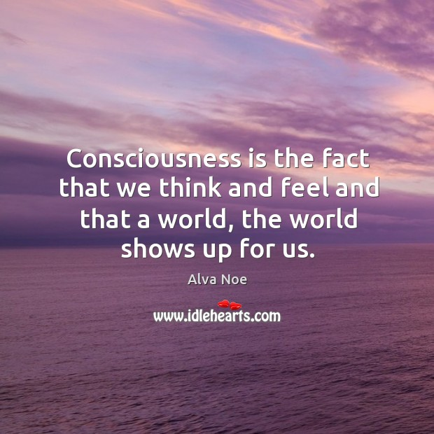 Consciousness is the fact that we think and feel and that a Alva Noe Picture Quote