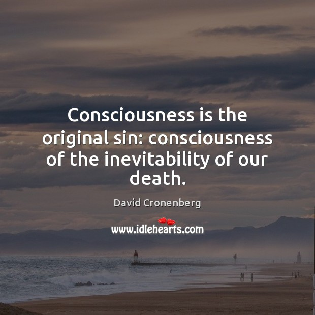 Image, Consciousness is the original sin: consciousness of the inevitability of our death.