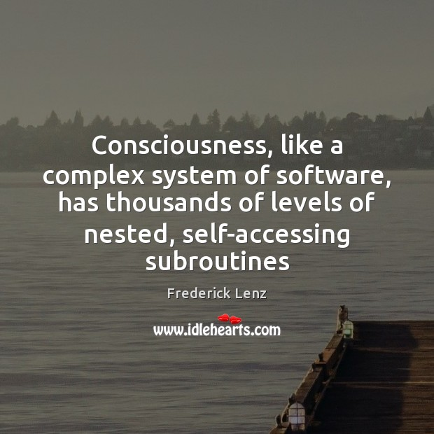 Consciousness, like a complex system of software, has thousands of levels of Image