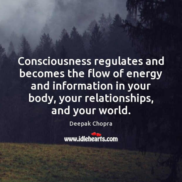 Consciousness regulates and becomes the flow of energy and information in your Image