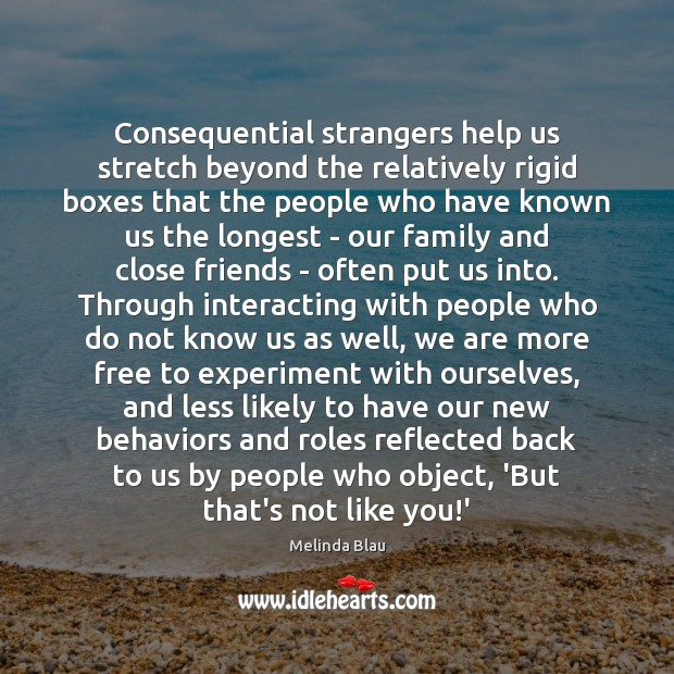 Consequential strangers help us stretch beyond the relatively rigid boxes that the Image