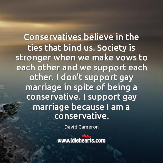 Conservatives believe in the ties that bind us. Society is stronger when David Cameron Picture Quote