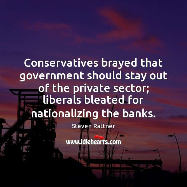 Conservatives brayed that government should stay out of the private sector; liberals Image