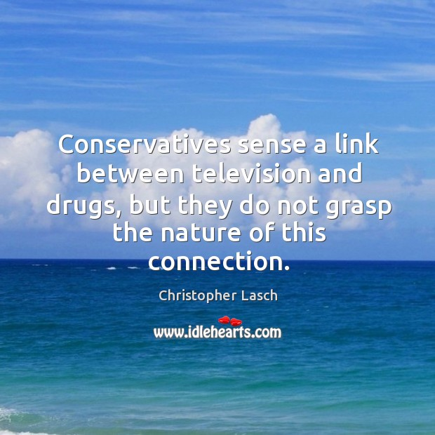 Conservatives sense a link between television and drugs, but they do not grasp the nature of this connection. Christopher Lasch Picture Quote