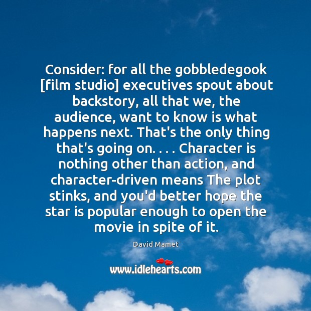 Consider: for all the gobbledegook [film studio] executives spout about backstory, all Image