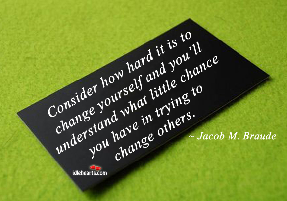 Consider How Hard It Is To Change Yourself And…