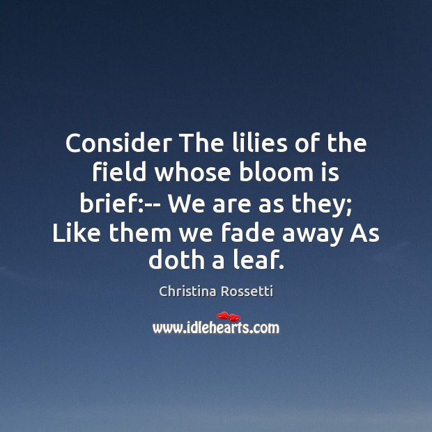 Consider The lilies of the field whose bloom is brief:– We Christina Rossetti Picture Quote