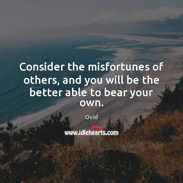 Consider the misfortunes of others, and you will be the better able to bear your own. Image