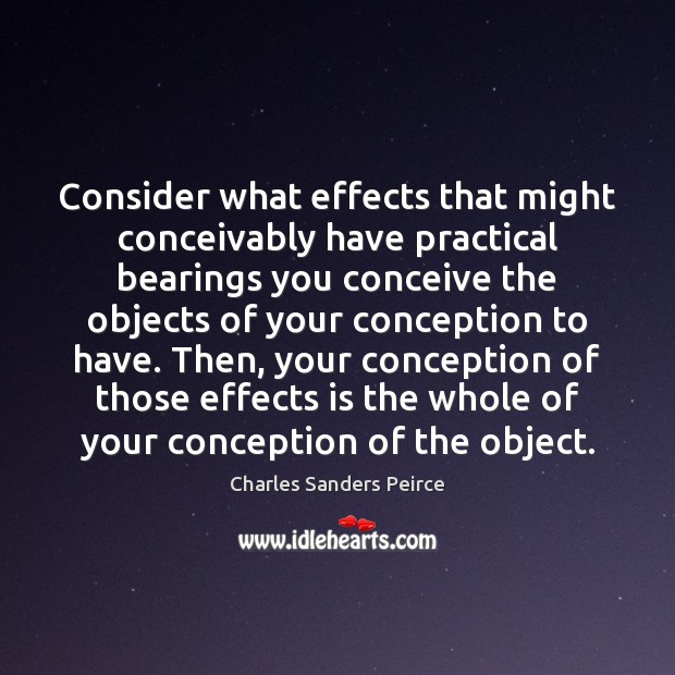 Consider what effects that might conceivably have practical bearings you conceive the Charles Sanders Peirce Picture Quote