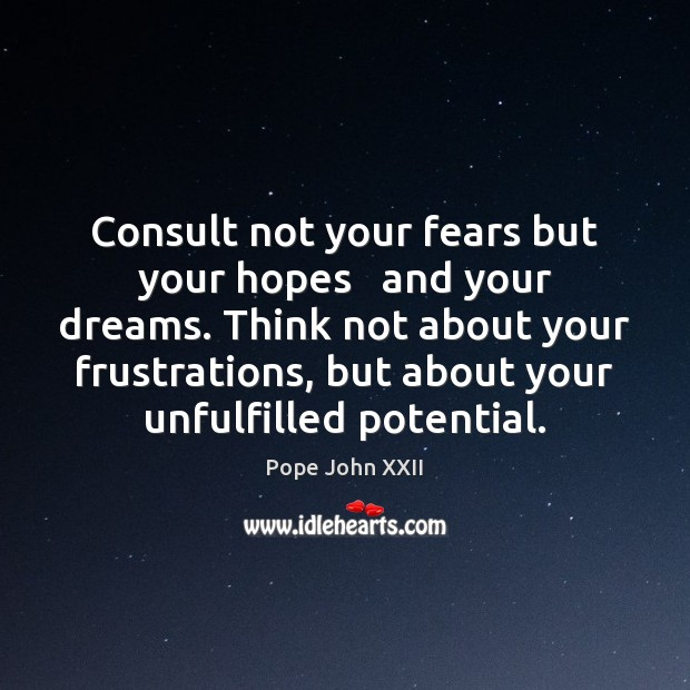 Consult not your fears but your hopes   and your dreams. Think not Image