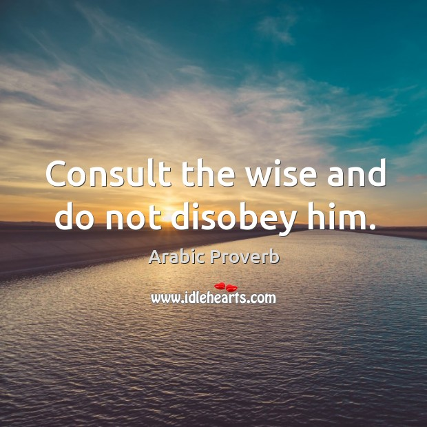 Consult the wise and do not disobey him. Arabic Proverbs Image