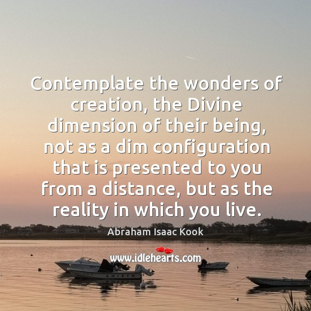 Image, Contemplate the wonders of creation, the Divine dimension of their being, not
