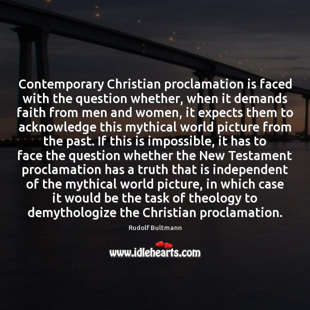 Image, Contemporary Christian proclamation is faced with the question whether, when it demands
