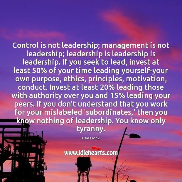 Control is not leadership; management is not leadership; leadership is leadership is Management Quotes Image