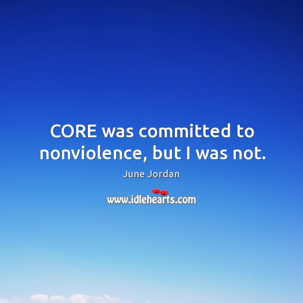 Core was committed to nonviolence, but I was not. Image