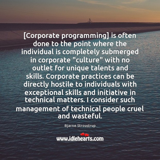 [Corporate programming] is often done to the point where the individual is Image