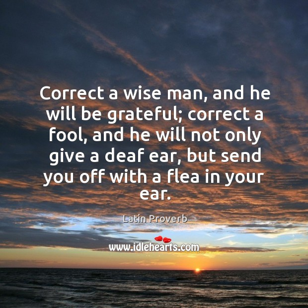 Correct a wise man, and he will be grateful; correct a fool Latin Proverbs Image