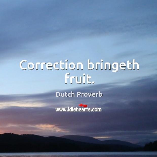 Correction bringeth fruit. Dutch Proverbs Image