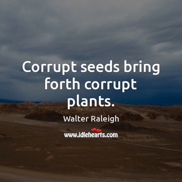 Walter Raleigh Picture Quote image saying: Corrupt seeds bring forth corrupt plants.