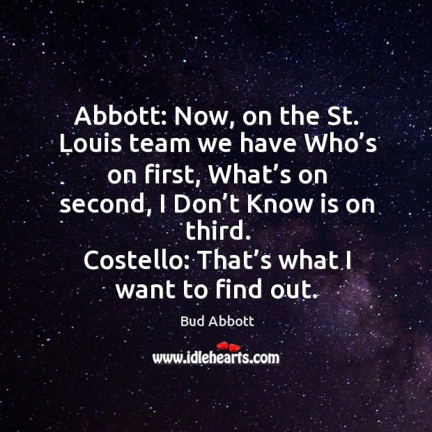 Image, Costello: that's what I want to find out.