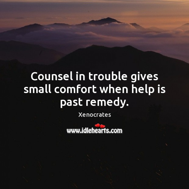 Counsel in trouble gives small comfort when help is past remedy. Image