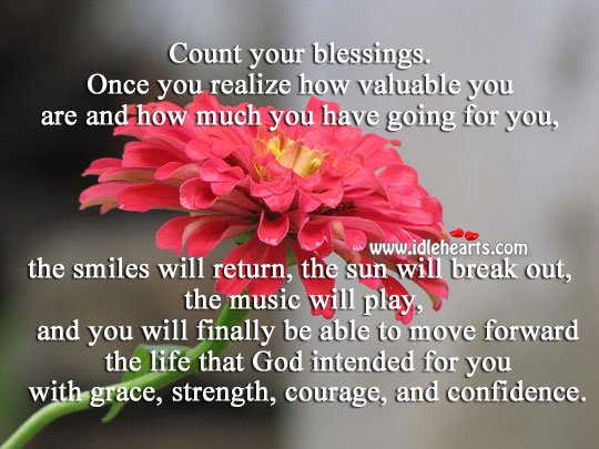 Realize how valuable you are and count your blessings. Blessings Quotes Image