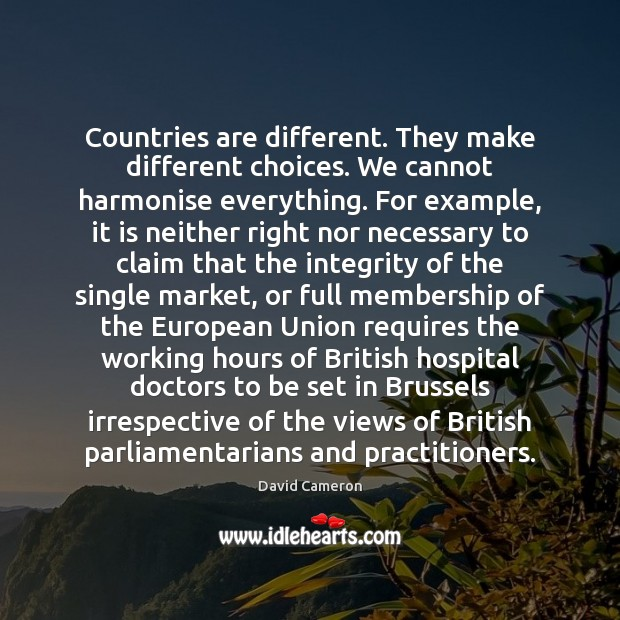 Countries are different. They make different choices. We cannot harmonise everything. For David Cameron Picture Quote