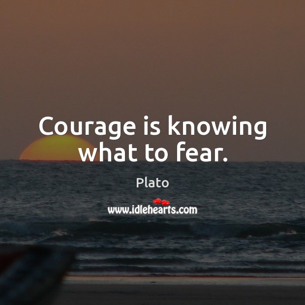 Courage is knowing what to fear. Plato Picture Quote