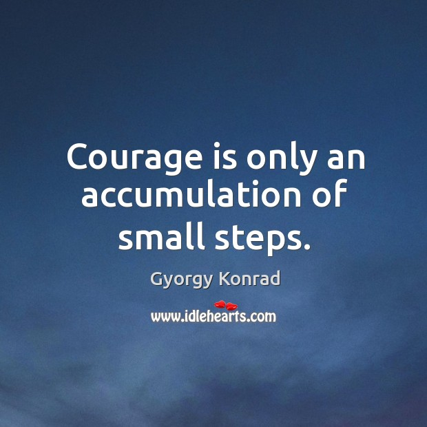 Courage is only an accumulation of small steps. Image