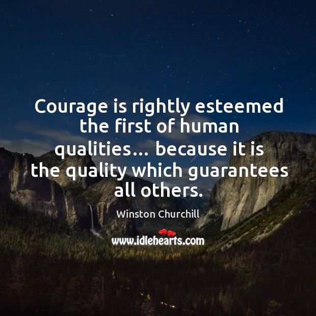 Courage is rightly esteemed the first of human qualities… because it is the quality which guarantees all others. Image