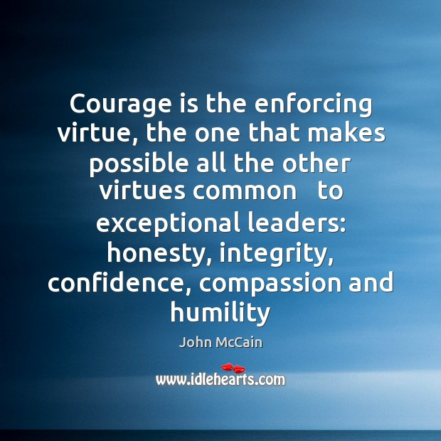 Courage is the enforcing virtue, the one that makes possible all the Image
