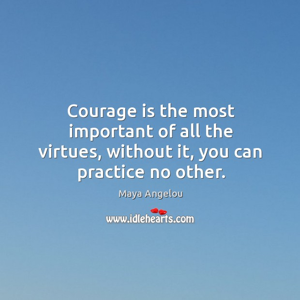 Image, Courage is the most important of all the virtues, without it, you can practice no other.