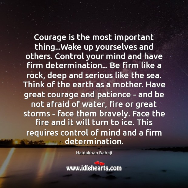 Courage is the most important thing…Wake up yourselves and others. Control Determination Quotes Image