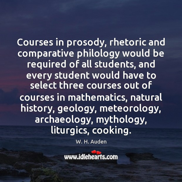 Courses in prosody, rhetoric and comparative philology would be required of all Image