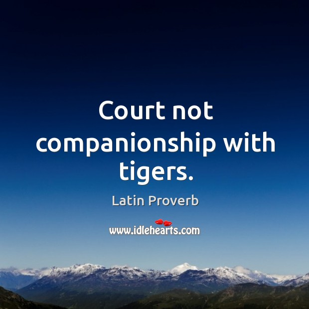 Court not companionship with tigers. Latin Proverbs Image