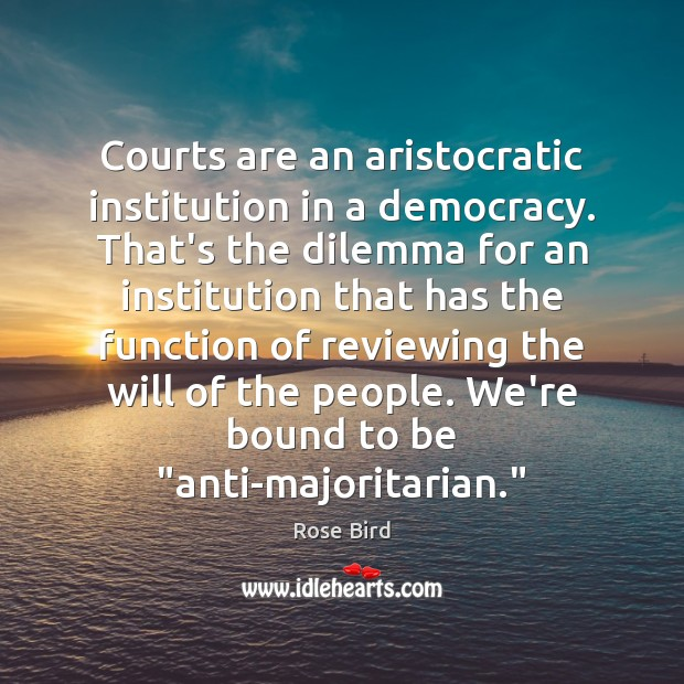 Image, Courts are an aristocratic institution in a democracy. That's the dilemma for