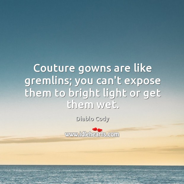 Image, Couture gowns are like gremlins; you can't expose them to bright light or get them wet.