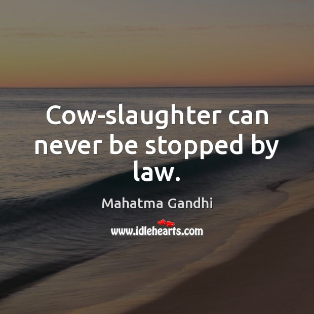Cow-slaughter can never be stopped by law. Image