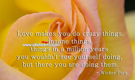 Love makes you do crazy things Wicker Park Picture Quote