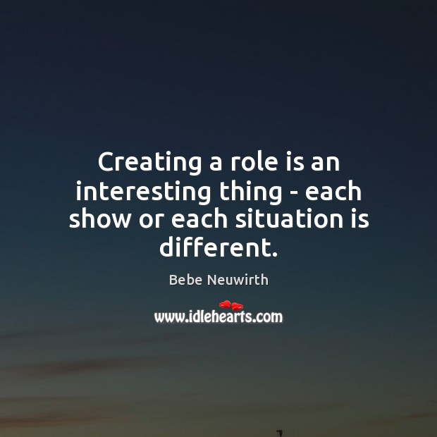 Image, Creating a role is an interesting thing – each show or each situation is different.
