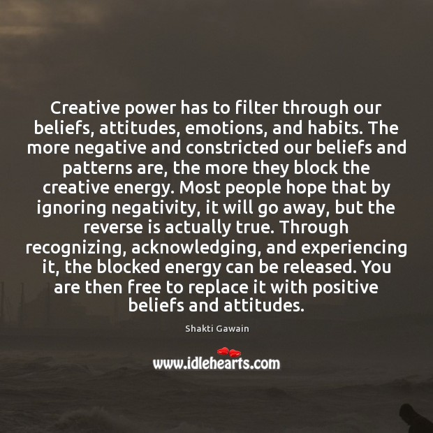 Creative power has to filter through our beliefs, attitudes, emotions, and habits. Image