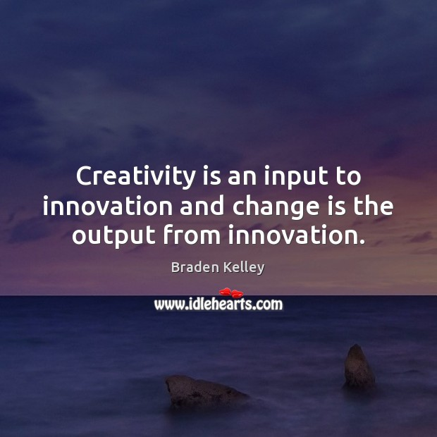 Image, Creativity is an input to innovation and change is the output from innovation.