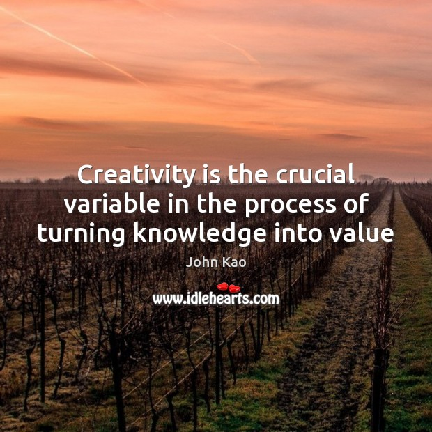 Creativity is the crucial variable in the process of turning knowledge into value Image